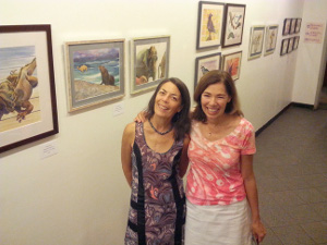 Artist with friend at solo show Carrboro ArtsCenter July 2015